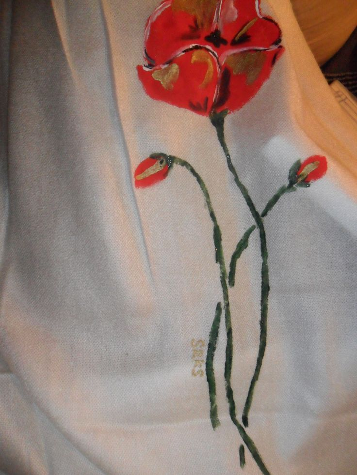scarf with hand painted poppies