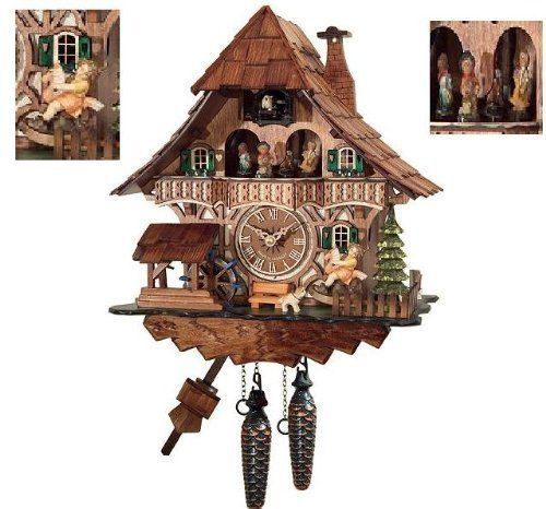 Special Offers - Traditional Cuckoo Clock Black Forest House with dancers [Kitchen & Home] - In stock & Free Shipping. You can save more money! Check It (March 25 2016 at 02:42PM) >> http://wallclockusa.net/traditional-cuckoo-clock-black-forest-house-with-dancers-kitchen-home/