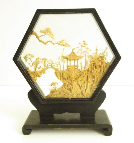Cork Carving  Chinese Art in Shadow Box  Vintage by SandyLeesAttic, $10.95