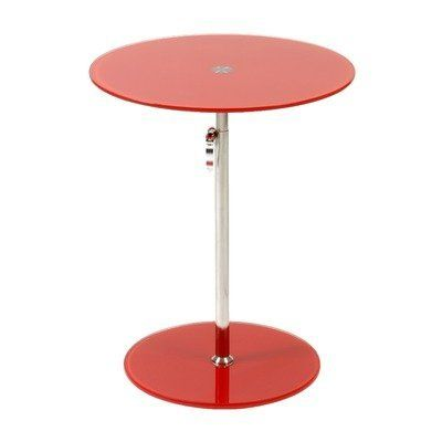 Eurostyle Radinka Side Table in Red Printed Glass/ Stainless Steel by Euro Style. Save 37 Off!. $110.00. Tempered colored glass tops and bases. Stainless steel column. Adjustable height with quick release adjustable lever. Radinka tabletops and bases are strong, tempered glass. The bases and tops come in matching colors from virtually clear to a rainbow of translucent shades. Dimensions:17.5L x 17.5W x 30H Some assembly may be required. Please see product details.