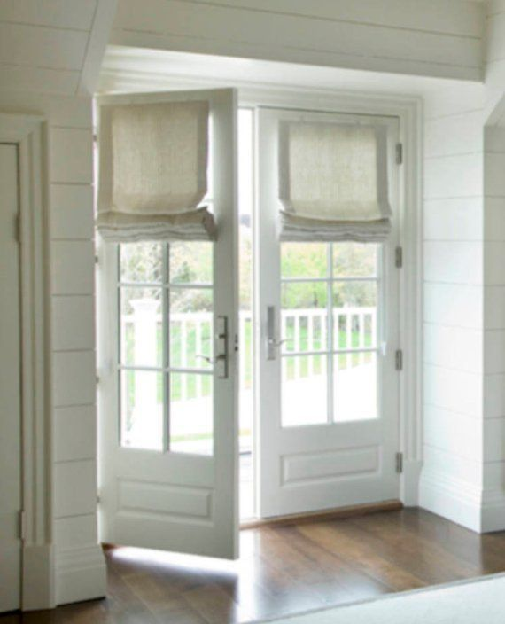 Roman Shades For French Doors Shades For Door Linen Natural White