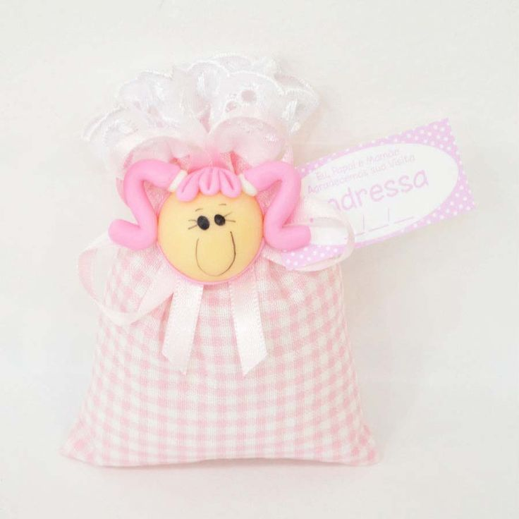 Lembrancinha Sachê Perfumado com Menina Biscuit Rosa - 06 unidades