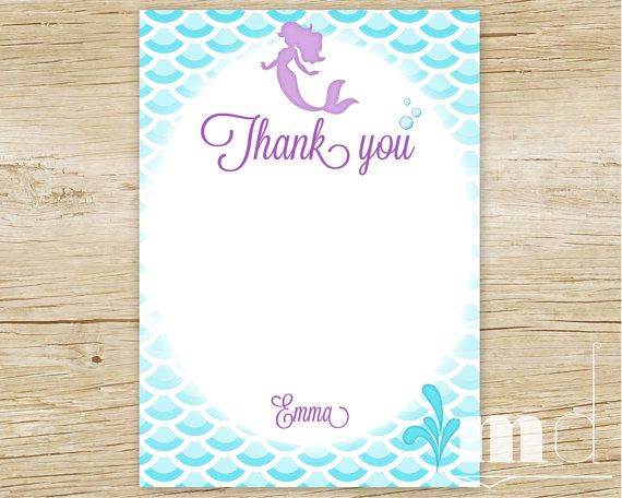 Mermaid Birthday Party Thank You Card Little by MulliganDesign