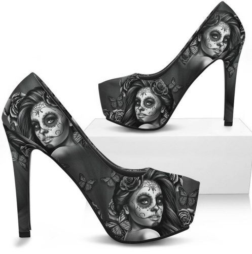 Sugar Skull High Heels Shoes