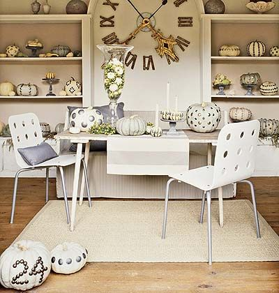From Cottage Living, nailheads and white pumpkins gone fantastically wild