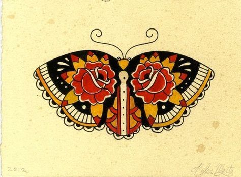 Old school colorful moth with rose pattern on wings tattoo design ... #TraditionalTattoos