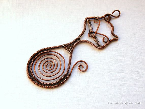 Hypnoticat. Statement wire wrapped antiqued by WireFantasies