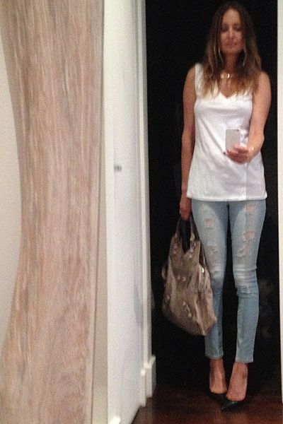 """I love the simplicity of denim and a classic white tee! Wearing Fluxus tee, Paige cropped jeans, Ella Po gold & diamond 'Gemini' constellation necklace, grey Balenciaga bag and Jimmy Choo heels."""""""