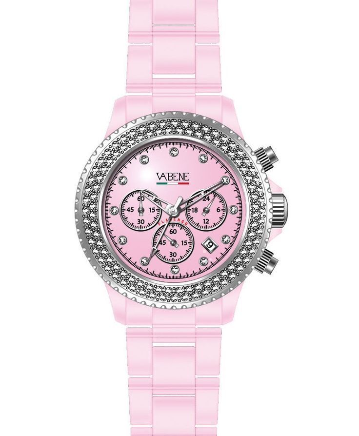 Vabene Watch Italy Authentic Collection Brand New Womans genuine crystal Elegant  Vabene Chrono Collection Unisex Watch CH914  Case size: 40mm diameter Swiss made quartz battery movement Pink round dial with indices Pinnk plastic polycarbonate case  Pink acrylic bracelet with locking clasp Fixed stainless steel bezel with two lines of swaronsky crystals Date calendar function Mineral glass crystal Water resistant to 50atm