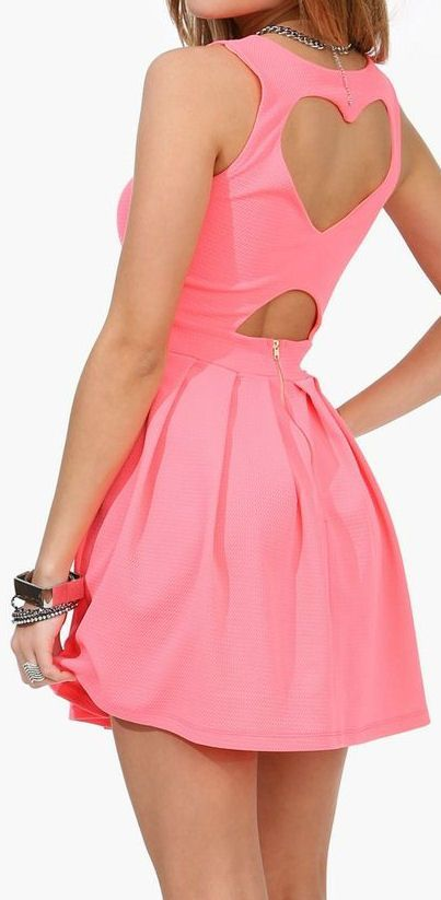 Love this pink mini dress with heart back