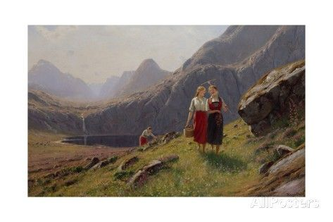 Three Girls by the Mountain Lake in Western Norway Giclee Print by Hans Andreas Dahl at AllPosters.com