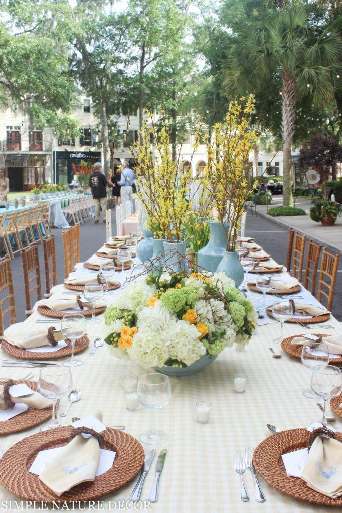 Tablescapes:Tables decor, outside parties: Simple Nature Decor