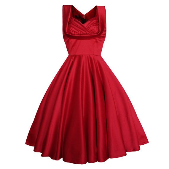 The 50s ELSA Swing Dress by Lady Mayra is a real vintage classic!    The gorgeous sweetheart neckline draws all eyes on you! The fitted top