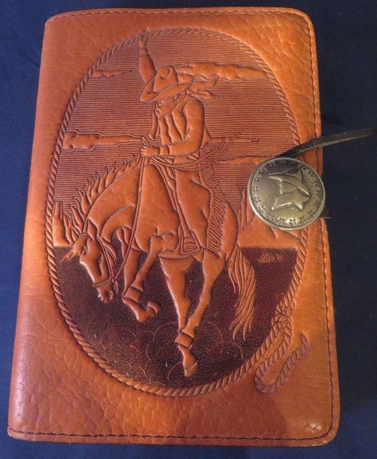 Oberon Western Cowboy Bucking Bronco Horse Design Leather Journal Sketchbook #OberonDesign sold 12/2017