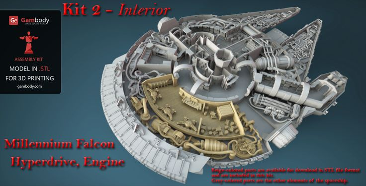 Star Wars Millennium Falcon kit 2 Engine, Hyperdrive and Engineering Bay interior parts are ready for download in STL format and are error-free. Order now. #starwars #3dprinting #millenniumfalcon