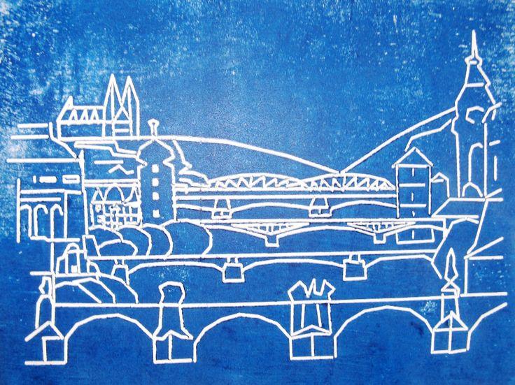 mosty Prahy (linoryt)  Burjan