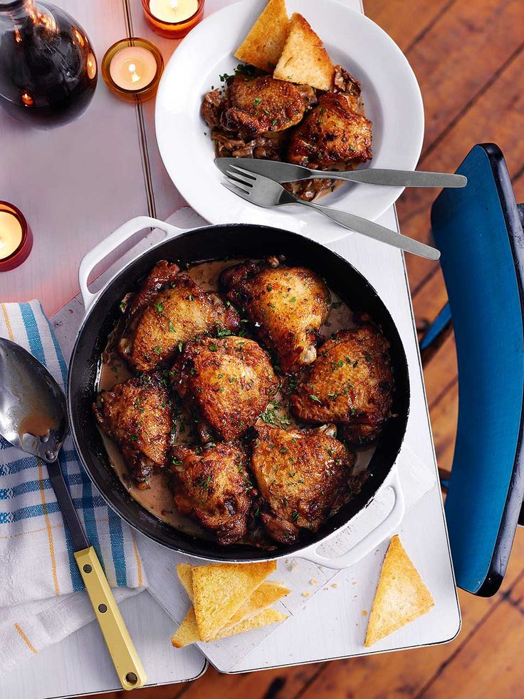 This is a rich dish but it's simple to prepare. The madeira and port combination is one successful and long-lasting marriage that works beautifully with the chicken thighs.