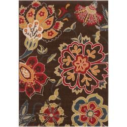 @Overstock.com - Meticulously Woven Contemporary Brown Floral Flitwick Rug (7'10 x 10') - This contemporary floral rug will provide a colorful focal point in a surprising place. The rug is constructed of polypropylene with a plush, 0.625-inch pile and features a brown background with splashes of red, blue, gold, cream, and orange.     http://www.overstock.com/Home-Garden/Meticulously-Woven-Contemporary-Brown-Floral-Flitwick-Rug-710-x-10/6345731/product.html?CID=214117  $251.97