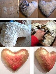 <p>Using+the+paper+mache+(mash)+clay+recipe+at+Ultimate+paper+Mache I+created+this+11″x11″+heart.+I+started+it+by+drawing+a+heart+shape+onto+some+card board. Next+I+wadded+up+some+newspaper+and+taped+it+together+with+masking+tape+(next+time+I'll+use+wider+tape).+I+also+taped+the+bottom+side+…</p>
