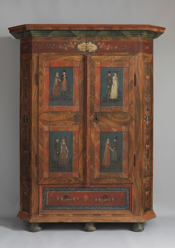 Painted Folk-Art Marriage Cupboard.