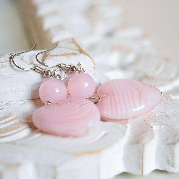 Romantic Pink heart earrings  vintage venetian by DreamsCorner, €20.00