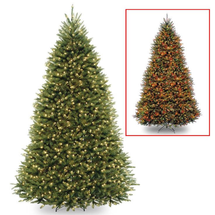 National Tree DUH-300D-90 9' Dunhill Fir Hinged Tree with 900 Low Voltage Dual LED Lights with 9 Function Footswitch