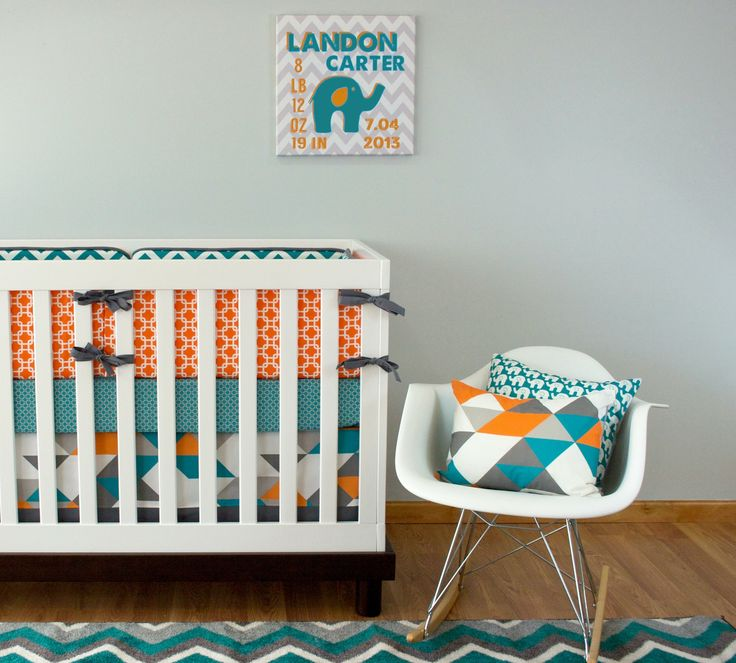 Turquoise Geo *Mod Exclusive* | Modified Tot - with turquoise elephant pattern for sheet or inside bumper