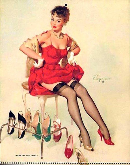 What Do You Think? - pin up art by Gil Elvgren.
