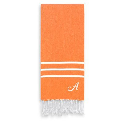 Linum Home Textiles Alara Personalized Turkish Pestemal Hand Towel Dark Orange - ALR75-1PHT-00-F, LINU158-110