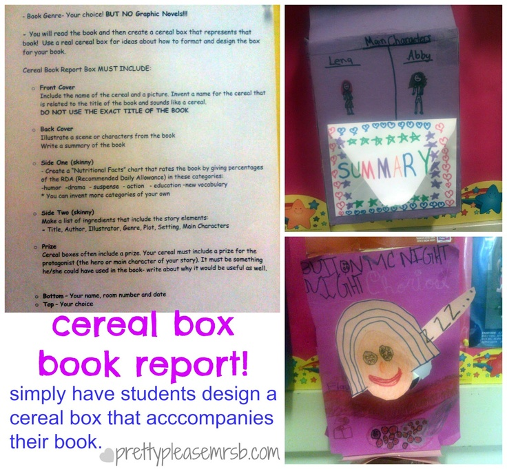 Cereal box book report pretty please education pinterest for Design your own cereal box template