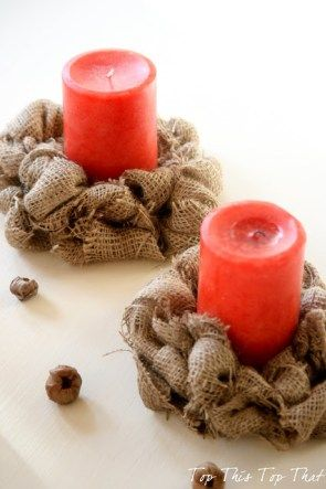Easy Burlap Candle Rings {repost} - Duke Manor Farm