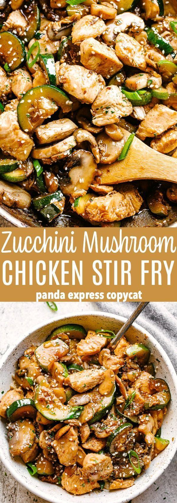 Zucchini Mushroom Chicken Stir Fry – Frische und leckere Hühnerpfanne … #c … – Braten