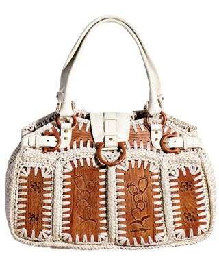 Cotton crochet tote with wood panels, Salvatore Ferragamo, $2,250, call 800-628-8916   - ELLE.com