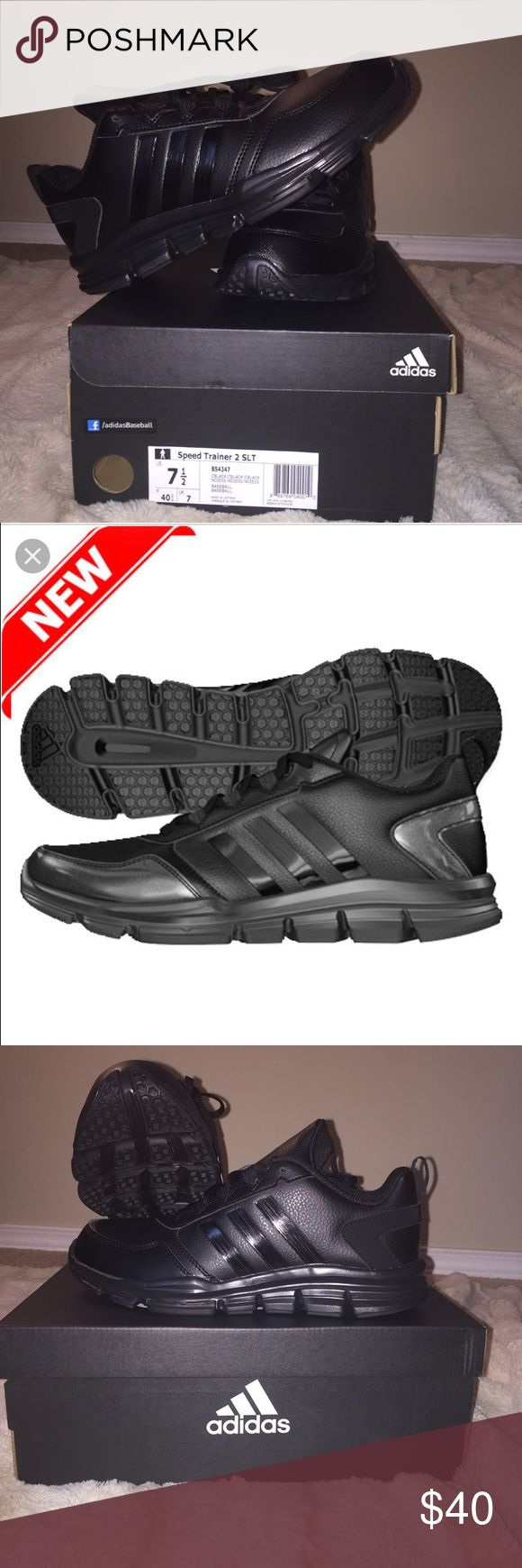 Women's Adidas Speed Trainer 2 All Black Adidas shoes never been worn with box and tags! This was just the wrong size that I accidentally got! Great deal, comment for questions! Adidas Shoes Athletic Shoes