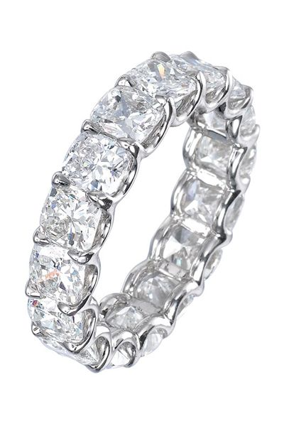 Diamond Eternity Wedding Band; 16 Cushion-Cut Diamonds Totaling 7.91 Carats are ...