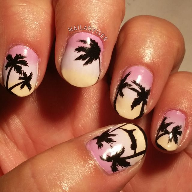 31 Day Challenge 2014 - Gradient Nails, Palm Tree, Sunset