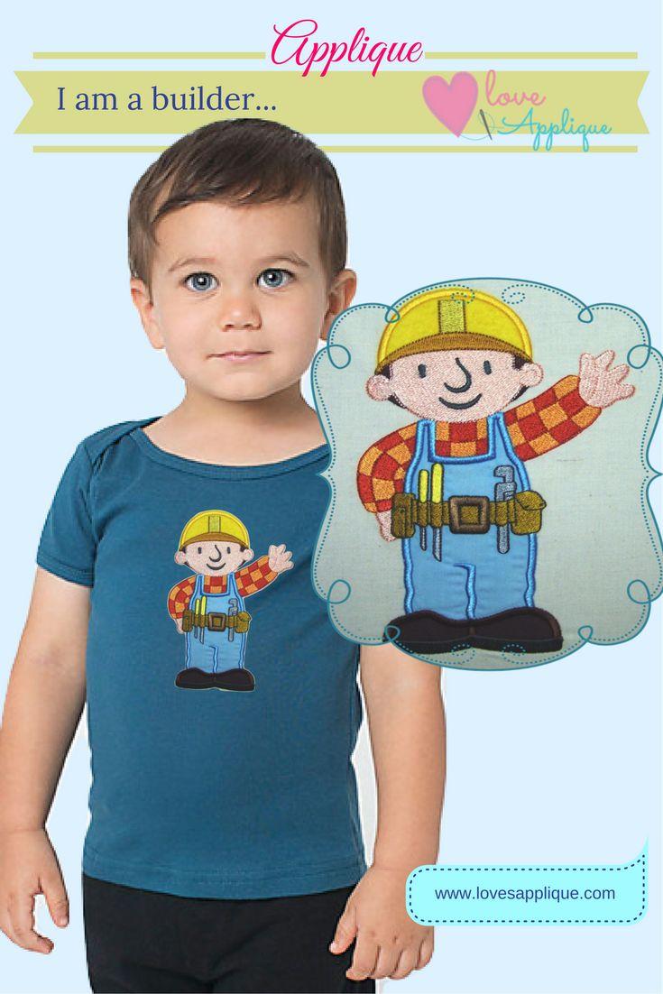 Bob the Builder Applique. Bob The Builder Designs. Bob The builder outfits. Bob the Builder Party Ideas, www.lovesapplique.com