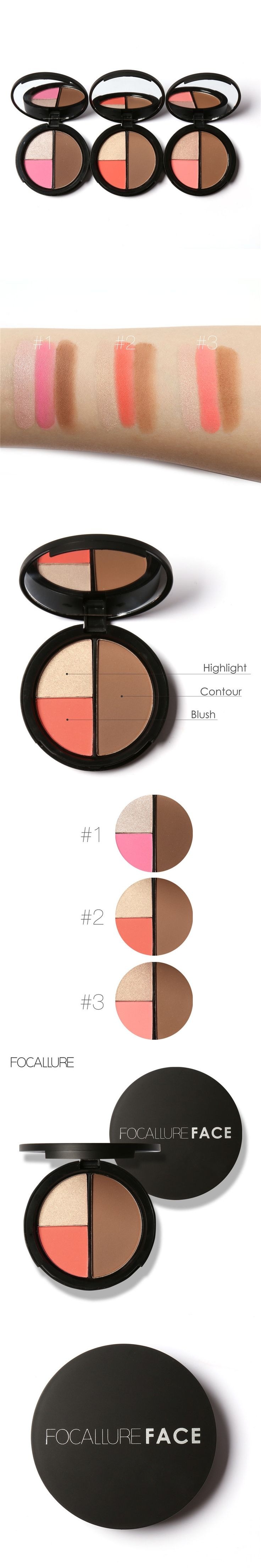 FOCALLURE Brand 3 Colors Shimmer Bronzers and Highlighters Powder Blusher Highlighter for Palette Contour Makeup 4291