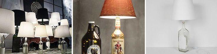 """""""Garrafas também podem virar suporte para abajures. Para isso é necessário um bocal, na medida do gargalo da garrafa, equipado com um fio que já tenha um plugue embutido. Neste caso, também é importante cortar o fundo da garrafa para a saída dos fios. A cúpula do abajur deve variar de acordo com o gosto do usuário. Use lâmpadas fluorescentes para reduzir o consumo de energia."""""""