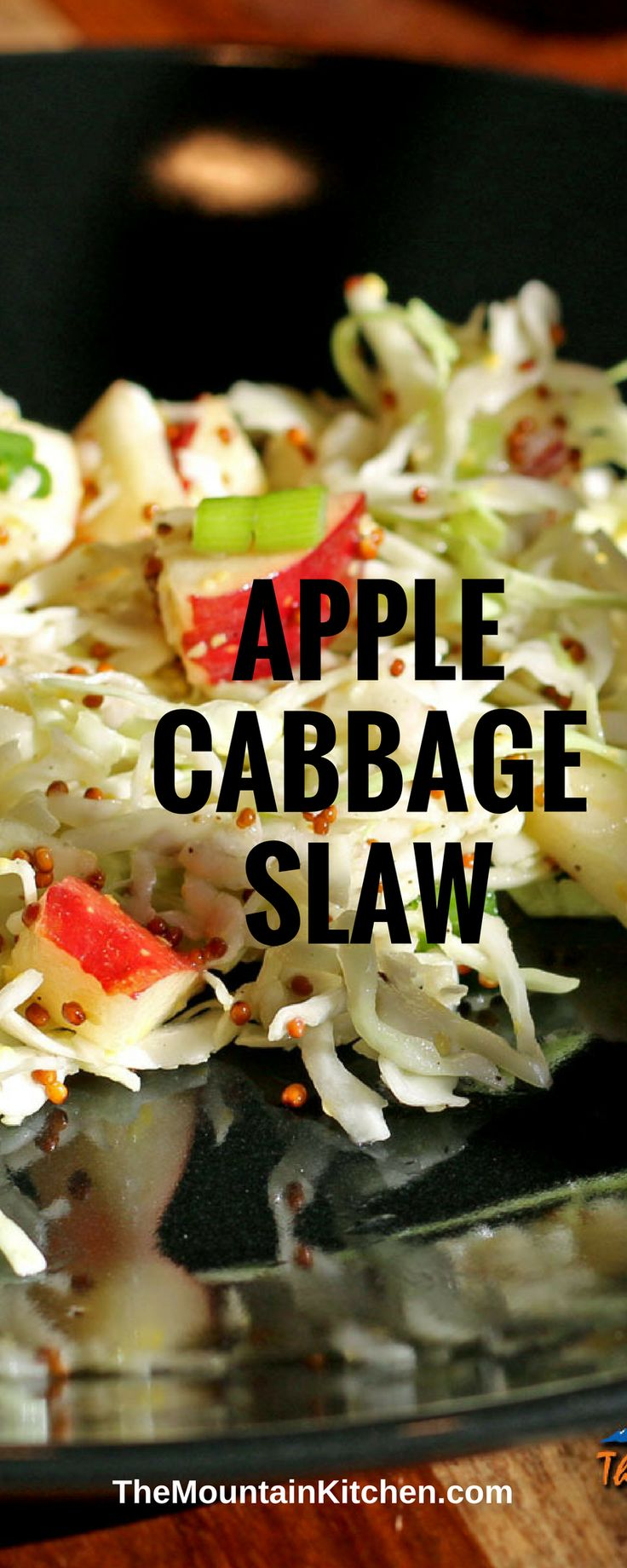 Crunchy cabbage, crisp apples and green onions tossed with a zesty mustard dressing, this Apple-Cabbage Slaw makes a great side dish for any summer BBQ.