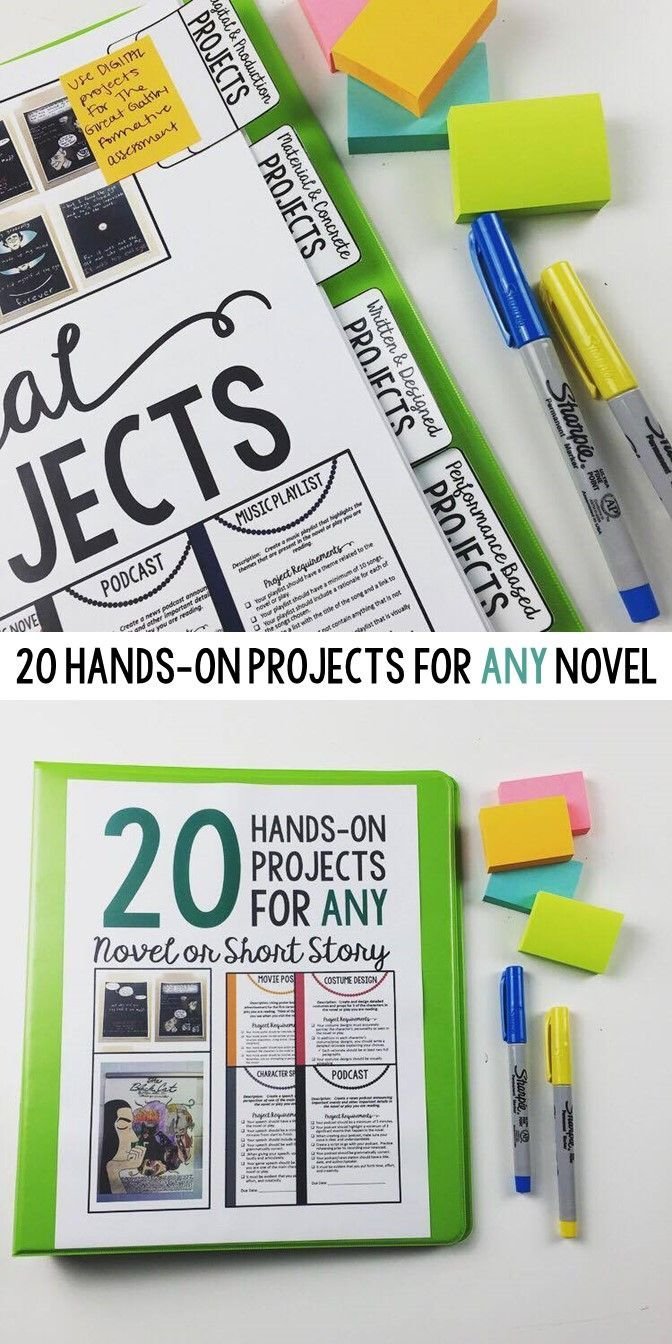 Projects for ANY novel | Grades 7-12 | Middle School | High School | 7-12 | Rubric included