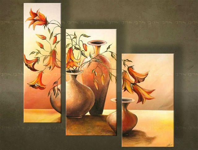 Ručne maľovaný obraz VÁZY 3 dielny 3330FA