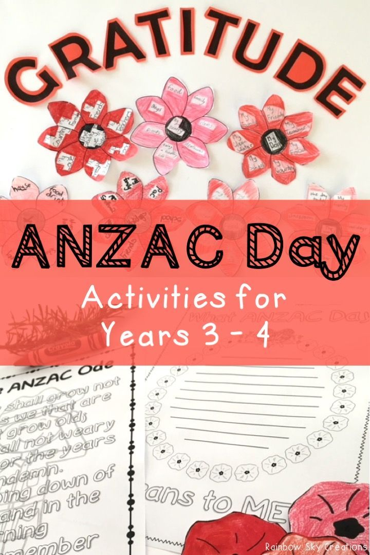 Check out these ANZAC day activities for primary students. They include poppies to wear / create a class wreath, writing tasks, In Flanders Fields poem study, maths activities and more. Worksheets are designed for kids to learn about the meaning of anzac day and the soldiers and heros that attended world wars for Australia. Suitable for students in Grade 3 and Grade 4 {homeschool} Click the link to see full list of inclusions #rainbowskycreations