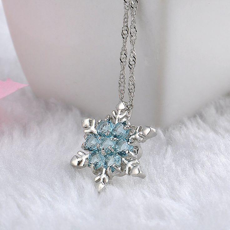 Myasthenia Gravis Swaroski Crystal Snowflake Silver Necklace