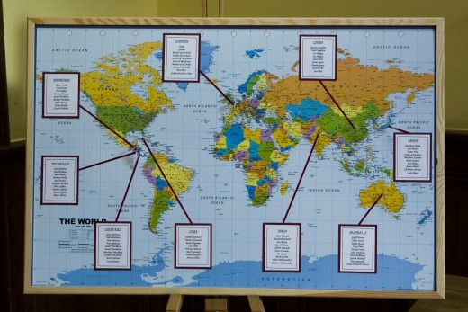 Map seating plan    Couples with a passion for travel will love this map seating plan. You could name your tables after different countries or cities too