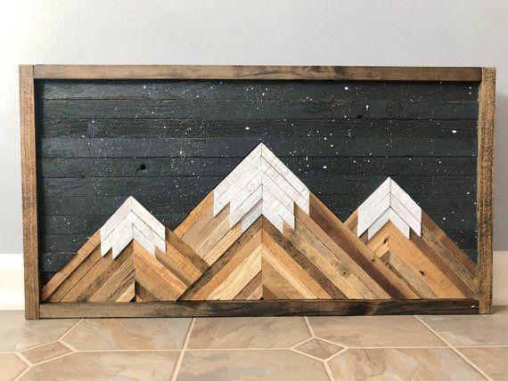 Mountain Wood Wall Art Decor In 2019 Wood Wall Art Wood Wall