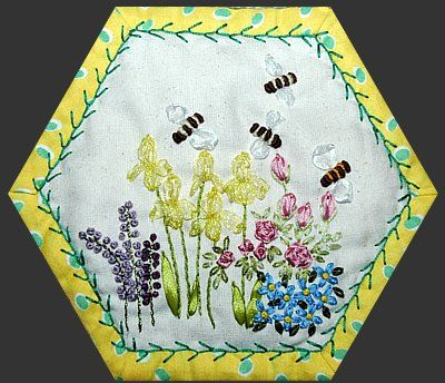 Gypsy Quilt: stunning hexagon bee quilt -- a must-see! Visit the original page for more of these charming embroidery motifs.