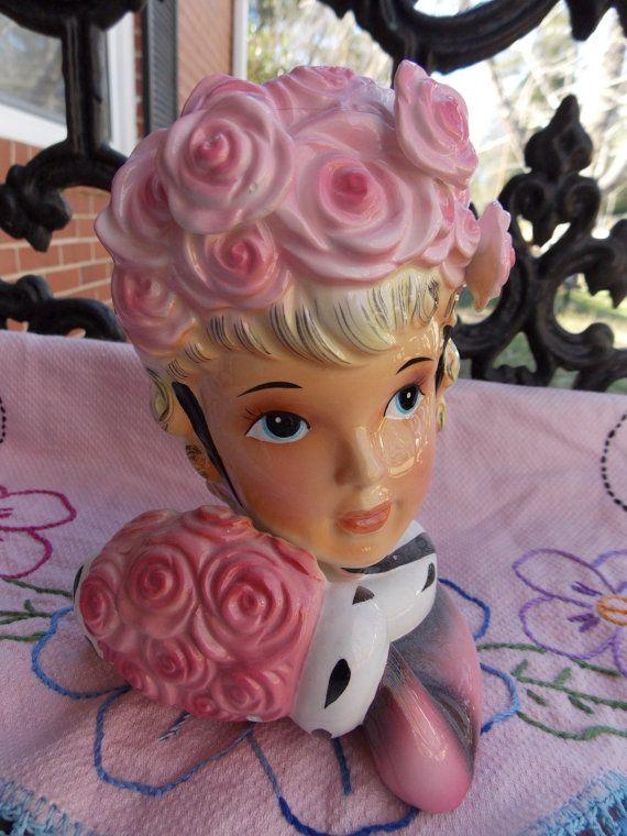 Pink Rose Blonde Lady Head Vase