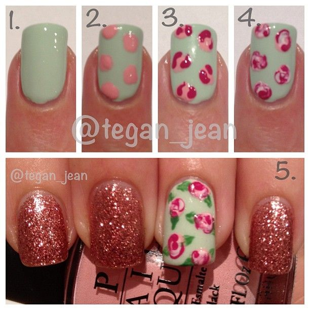 Vintage Rose Nail Art Tutorial, featuring Butter London Rosie Lee