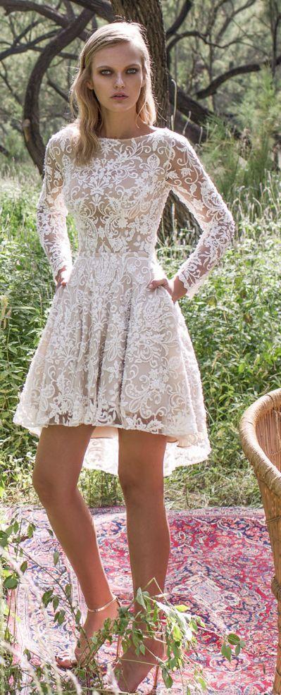 Featured Dress: Limor Rosen; Long-sleeve short wedding dress idea.